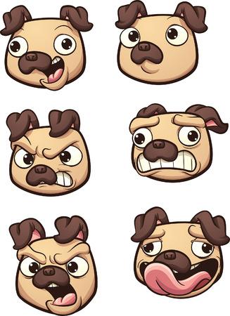 別の表現でパグ犬を漫画します。シンプルなグラデーション ベクター クリップ アート イラスト。それぞれ別のレイヤーにします。