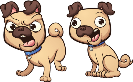 cute animal cartoon: Barking and happy pug dog. Vector clip art illustration with simple gradients. Heads an bodies on separate layer. Illustration