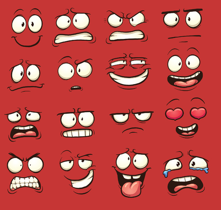 Funny cartoon faces. Vector clip art illustration with simple gradients. Each on a separate layer.