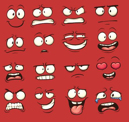 caras de emociones: divertidos dibujos animados se enfrenta. Vector ilustraci�n de im�genes predise�adas con gradientes simples. Cada uno en una capa separada. Vectores
