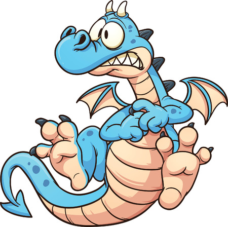 Cartoon scared blue dragon. Vector clip art illustration with simple gradients. All in a single layer.