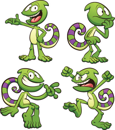 Cartoon chameleon with different poses. clip art illustration with simple gradients. Each pose on a separate layer. Ilustracja