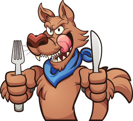 Hungry cartoon wolf licking it's lips. clip art illustration with simple gradients. Hands, utensils,body and fingers on separate layers. 일러스트