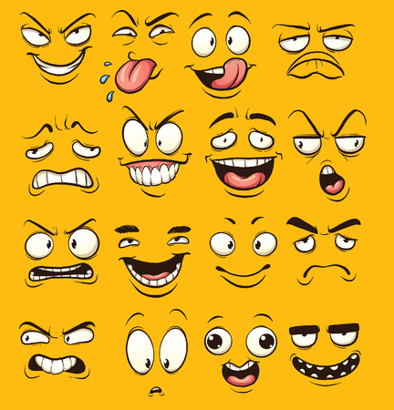 divertidos dibujos animados se enfrenta. clip de arte de la ilustración con gradientes simples. Cada cara en una capa separada. Ilustración de vector