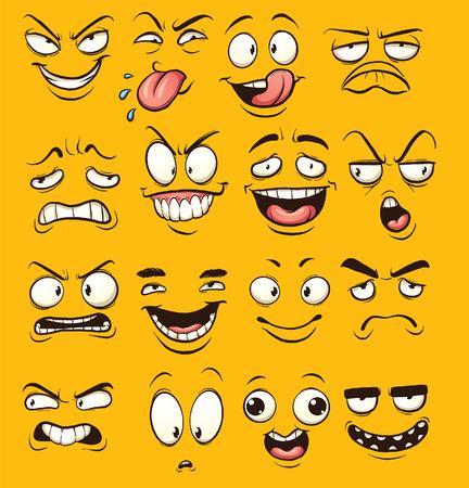divertido: divertidos dibujos animados se enfrenta. clip de arte de la ilustración con gradientes simples. Cada cara en una capa separada. Vectores