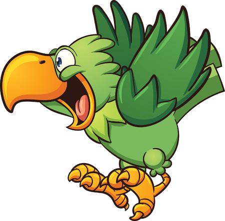 Gelukkig cartoon papegaai. clip art afbeelding met eenvoudig verlopen. Sommige elementen op afzonderlijke lagen. Stockfoto - 54184628
