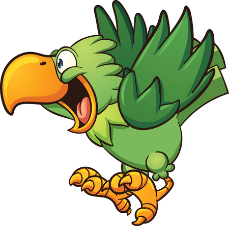 cartoon parrot: Happy cartoon parrot. clip art illustration with simple gradients. Some elements on separate layers. Illustration