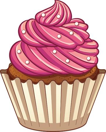 漫画カップケーキ。簡単なグラデーションとクリップ アート イラスト。3 つのレイヤーでの要素。