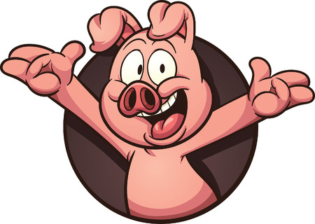 pig out: Cartoon pig coming out of a hole. clip art illustration with simple gradients. All in a single layer. Illustration