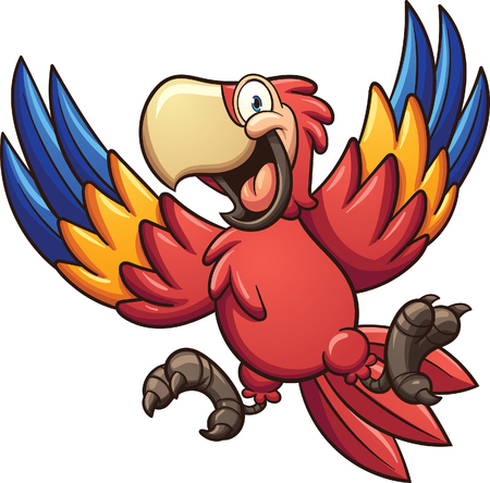 thrilled: Cartoon red macaw. clip art illustration with simple gradients. All in a single layer.