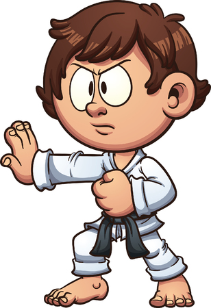 Cartoon kid practicing karate. clip art illustration with simple gradients. Head and body on separate layers.