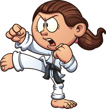 Cartoon girl practicing karate. clip art illustration with simple gradients. Head, front arm, ponytail and body on separate layers.