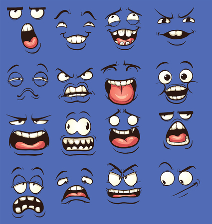 dumb: Cartoon faces with different expressions. clip art illustration with simple gradients. Each on a separate layer.