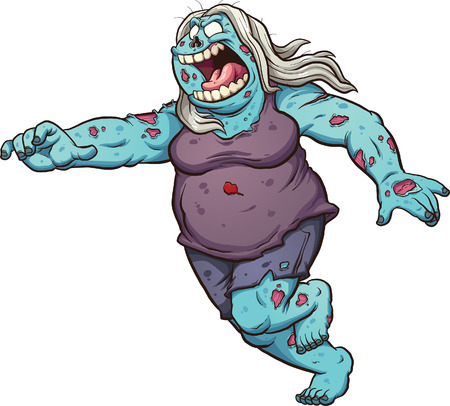 Female fat cartoon zombie running. clip art illustration with simple gradients. All in a single layer.
