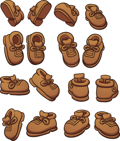 Cartoon shoes in different positions. clip art illustration with simple gradients. Each on a separate layer. Ilustração