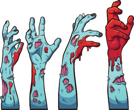 manos zombi de la historieta Ilustración de vector