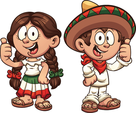 Cartoon kids in traditional Mexican clothing. clip art illustration with simple gradients. Some elements on separate layers. 일러스트