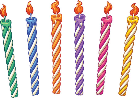 Cartoon birthday candles. clip art illustration with simple gradients. Each on a separate layer.