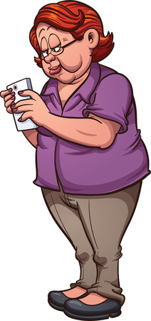 woman smartphone: Cartoon elderly woman texting on a smartphone. clip art illustration with simple gradients. All in a single layer.