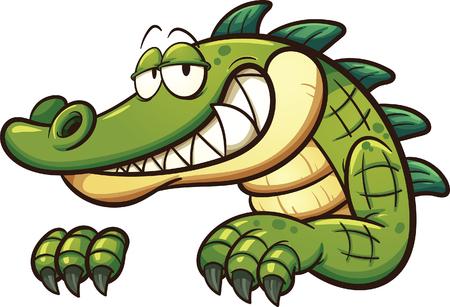 crocodile Cartoon. Vector clip art illustration avec des dégradés simples. Tout en une seule couche.