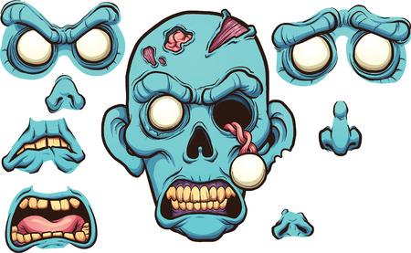 別の表現でゾンビ顔。ベクター クリップ アート漫画イラストと簡単なグラデーション。異なるレイヤー上の各要素。  イラスト・ベクター素材