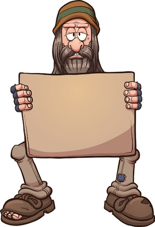 homelessness: Homeless man golding a sign. Vector clip art cartoon illustration with simple gradients. All in a single layer.