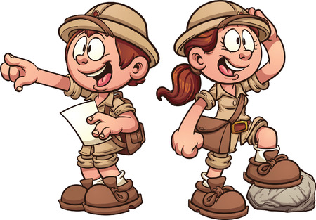 Boy and girl in safari outfits. Vector clip art cartoon illustration with simple gradients.