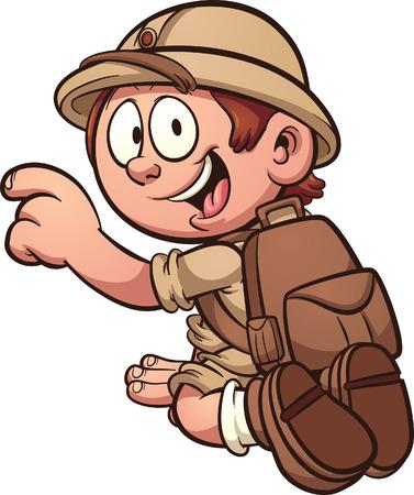 Cartoon safari enfant agenouillée. Vector clip art illustration avec des dégradés simples. Tout en une seule couche.