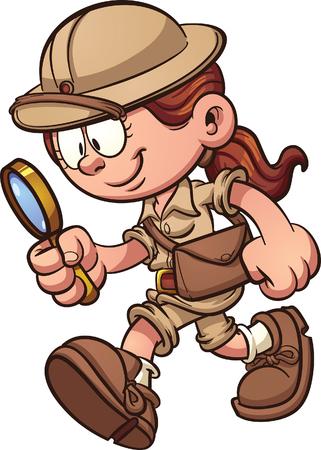 Safari del fumetto ragazza con una lente di ingrandimento. Vector clip art illustrazione con semplici gradienti. Il tutto in un unico strato. Vettoriali