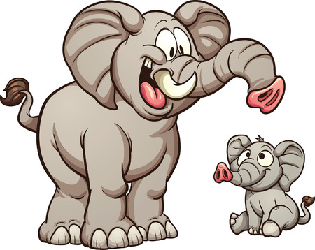 Big and small cartoon elephants. Vector clip art illustration with simple gradients. Each on a separate layer.