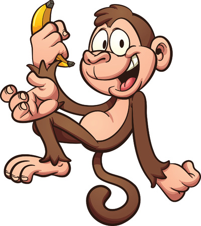 Happy cartoon monkey holding a banana. Vector clip art illustration with simple gradients. All in a single layer. Ilustracja
