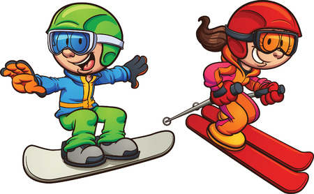 Skiing and snowboarding kids. Vector clip art illustration with simple gradients. Each on a separate layer.