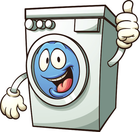 Cartoon washing machine. Vector clip art illustration with simple gradients. All in a single layer. Stock Illustratie