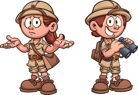 niños Explorer en trajes de safari. Vector de arte de la ilustración de dibujos animados con gradientes simples. Cada uno en una capa separada.