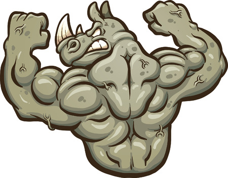 flexing: Angry strong rhinoceros mascot. clip art illustration with simple gradients. All in a single layer.