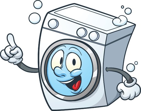 Cartoon washing machine. clip art illustration with simple gradients. All in a single layer. Vectores