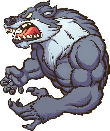 Boze sterke wolf mascotte. clip art illustraties met eenvoudig verlopen. Alle in een enkele laag.