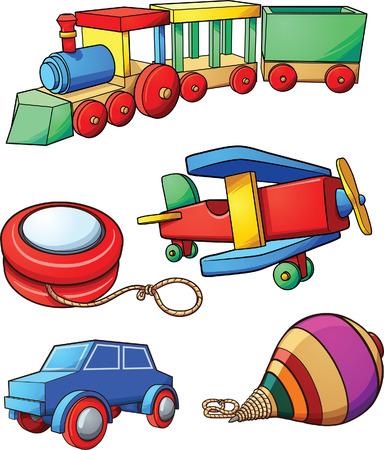 Retro cartoon speelgoed. clip art afbeelding met eenvoudig verlopen. Elk op een afzonderlijke laag. Vector Illustratie