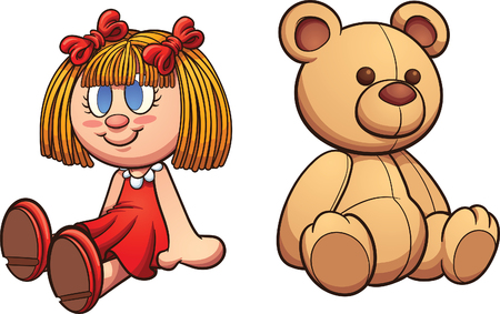 Teddy bear and doll. clip art illustration with simple gradients. Each on a separate layer. Ilustrace