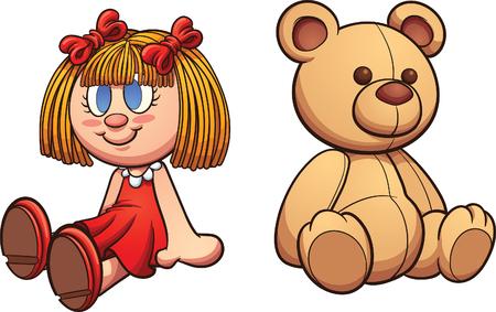 Teddybär und Puppe. Kunst-Illustration mit einfachen Steigungen Clip. Jede auf einer separaten Ebene.