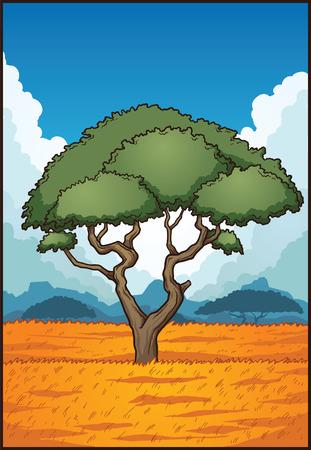 漫画サバンナの風景。簡単なグラデーションとクリップ アート イラスト。別のレイヤーにいくつかの要素。
