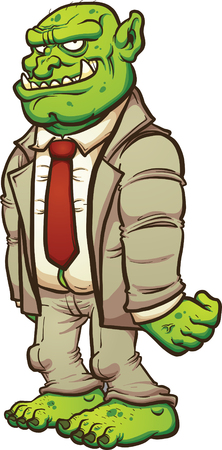 troll: Cartoon troll in a business suit. clip art illustration with simple gradients. All in a single layer. Illustration