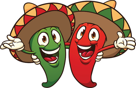 Happy cartoon Mexican chili peppers.  Vector clip art illustration with simple gradients. All in a single layer. Illusztráció