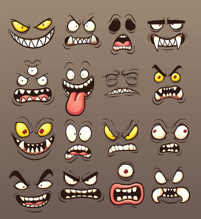 cyclops: Cartoon monster faces. clip art illustration with simple gradients. Each on a separate layer. Illustration
