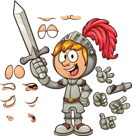Cartoon knight with different expressions. clip art illustration with simple gradients. Some elements are on separate layers.