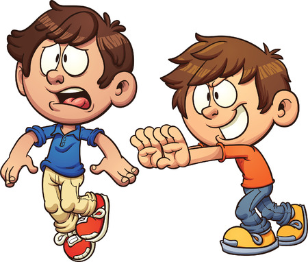 Cartoon kid shoving another kid. clip art illustration with simple gradients. Each on a separate layer.