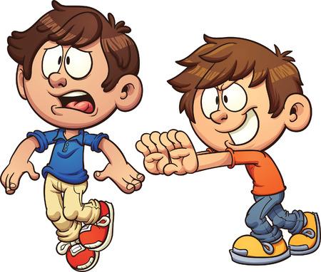 niño empujando: niño de dibujos animados empujando a otro niño. clip de arte de la ilustración con gradientes simples. Cada uno en una capa separada.