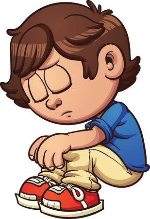 Trieste jongen zitten. clip art afbeelding met eenvoudig verlopen. Alle in een enkele laag. Stock Illustratie