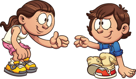 Cartoon girl helping a boy get up. clip art illustration with simple gradients. Each on a separate layer.