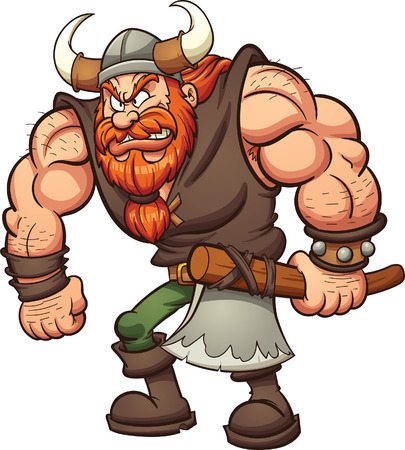 Cartoon Viking holding an axe. clip art illustration with simple gradients. All in a single layer. Illustration